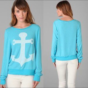NEW WILDFOX COUTURE ANCHOR BLUE SWEATER SZ LARGE
